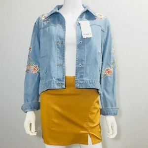 Jackets & Blazers - Floral Embroidered Denim Jacket